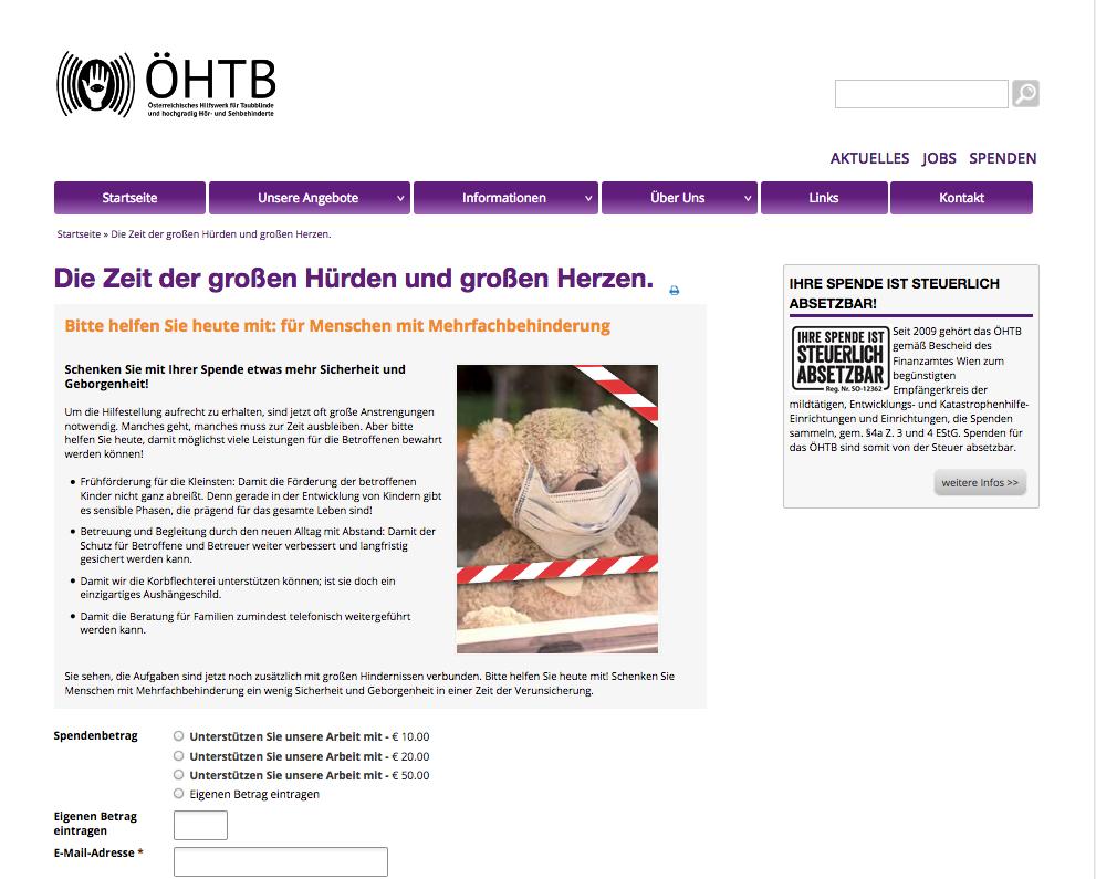 ÖHTB Online Spendenkampagne