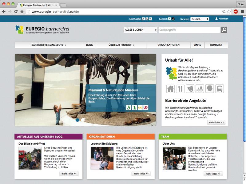 Startseite der Webseite www.euregio-barrierefrei.eu