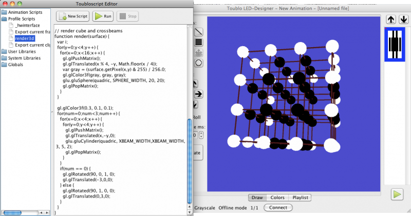 Toublo on Mac OS X, showing a 3D matrix with the ToubloScript to generate the visualisation
